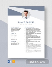 Food Services Manager Resume Template