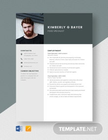 Food Specialist Resume Template