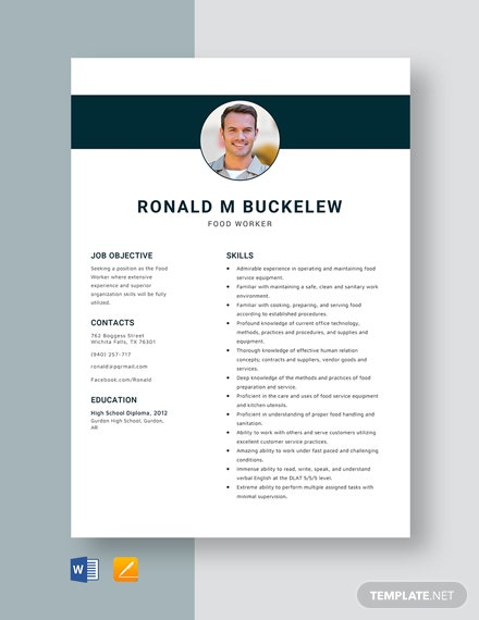 Food Worker Resume Template