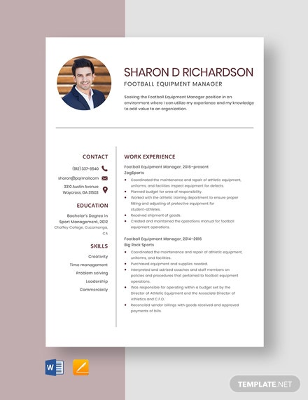 Football Equipment Manager Resume Template