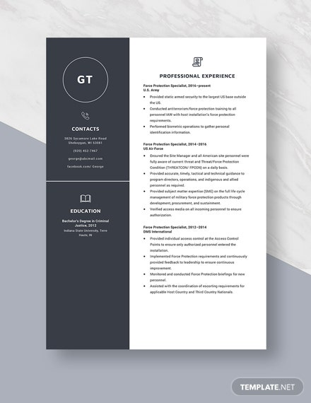 Force Protection Specialist Resume  Template