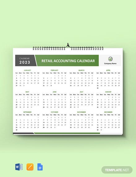 Retail Accounting Desk Calendar