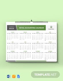 Free Retail Accounting Desk Calendar Template