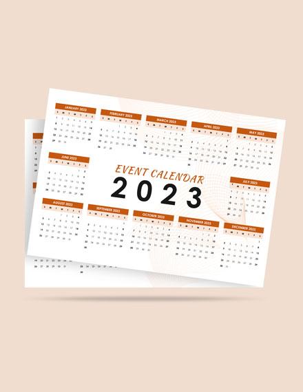 Sample Event Desk Calendar Template