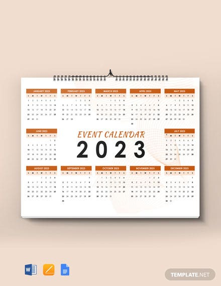 Sample Event Desk Calendar