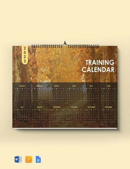 Sample Training Desk Calendar Template