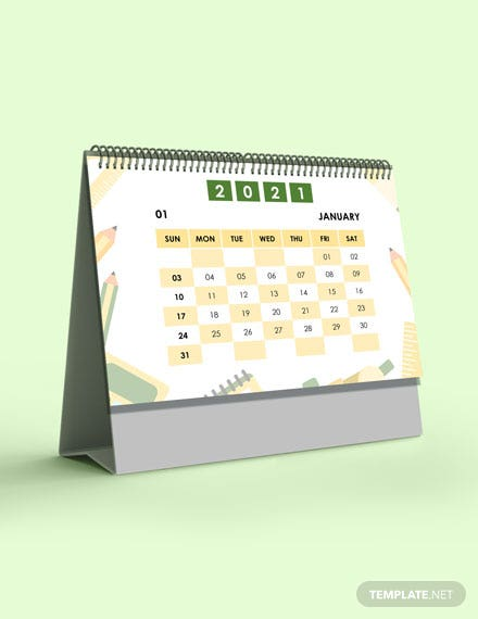 School Academic Desk  Calendar Template