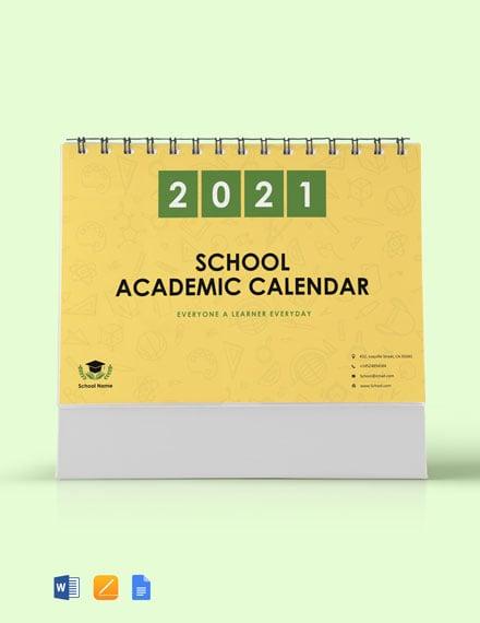 School Academic Desk  Calendar