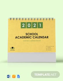 Free School Academic Desk  Calendar Template