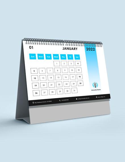 Semester Academic Desk Calendar Template
