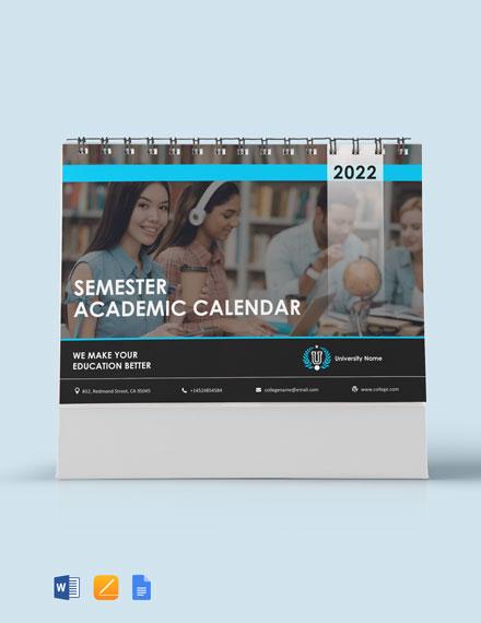 Free Semester Academic Desk Calendar Template