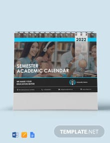 Semester Academic Desk Calendar Template