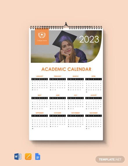 Free Simple Academic Desk Calendar Template