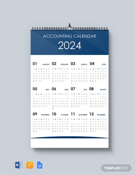 Free Simple Accounting Desk Calendar Template