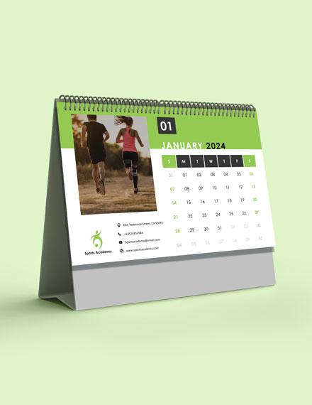 Sports Training Desk Calendar Template