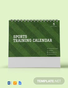 Free Sports Training Desk Calendar Template