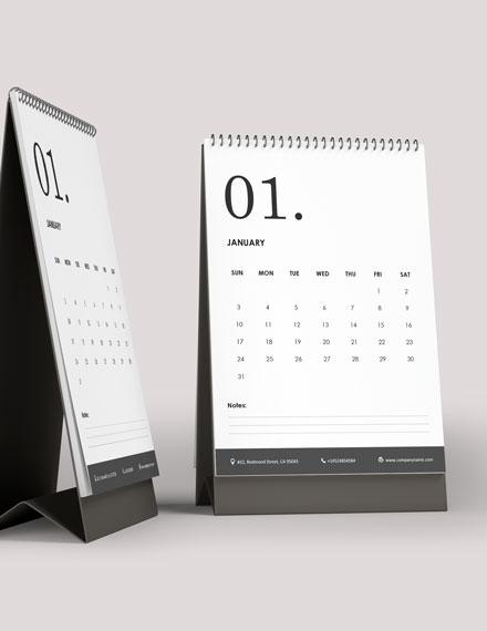 Staff Annual Desk Calendar Template