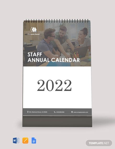 Free Staff Annual Desk Calendar Template