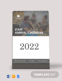 Staff Annual Desk Calendar Template