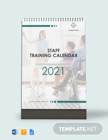Staff Training Desk Calendar Template