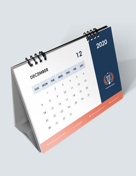 University Academic Desk Calendar Download