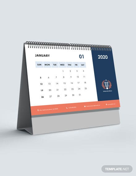 University Academic Desk Calendar Template