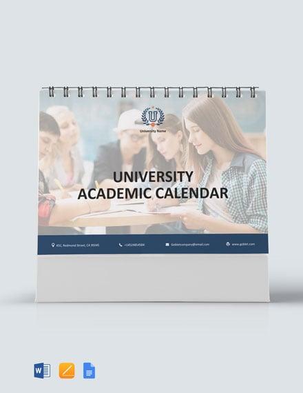 University Academic Desk Calendar