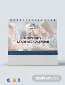 Free University Academic Desk Calendar Template