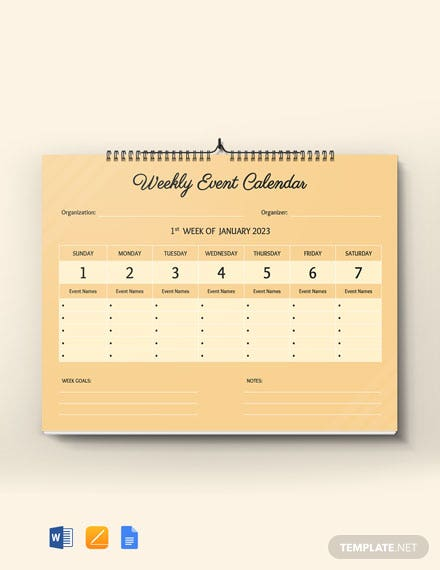 Free Weekly Event Desk Calendar Template