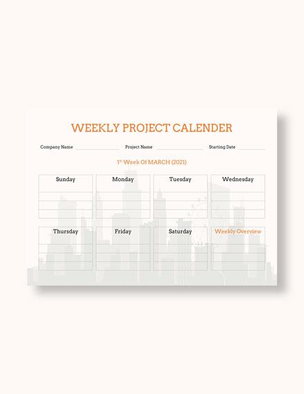 Weekly Project Desk Calendar Download