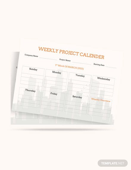 Weekly Project Desk Calendar Template