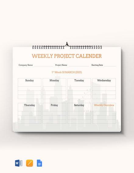 Weekly Project Desk Calendar