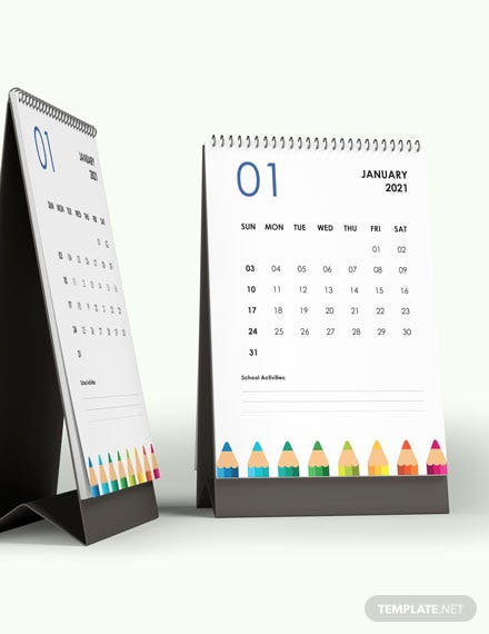 Yearly Academic Desk Calendar Template [Free Google Docs] - Word, Apple Pages