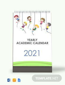 Free Yearly Academic Desk Calendar Template