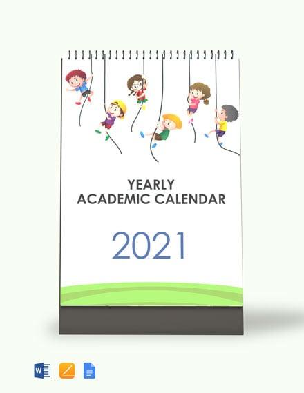 Yearly Academic Desk Calendar Template