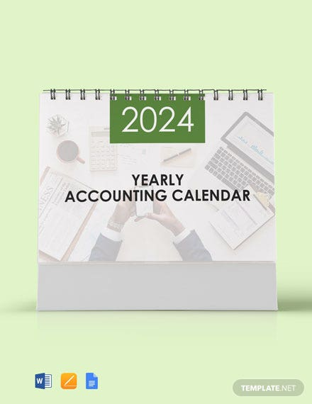 Free Yearly Accounting Desk Calendar Template