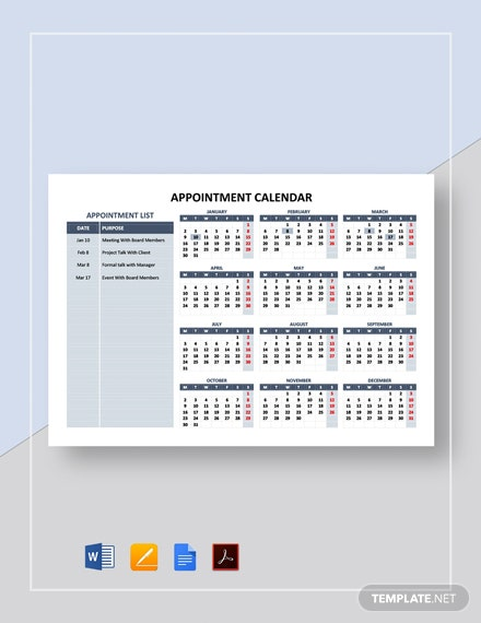 Free Sample Appointment Calendar Template