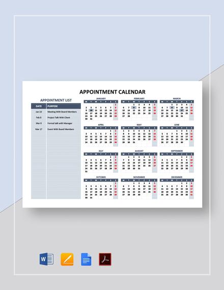 Sample Appointment Calendar