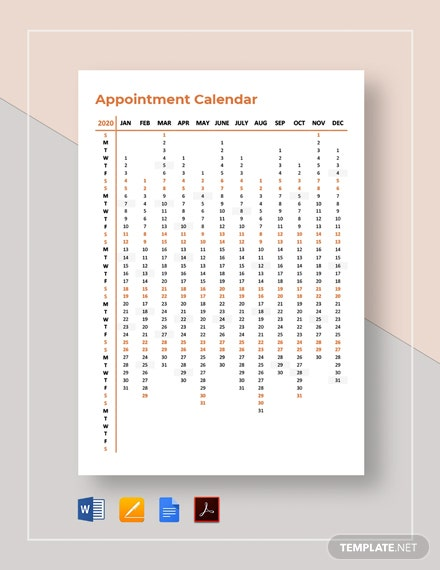 Free Printable Appointment Calendar Template