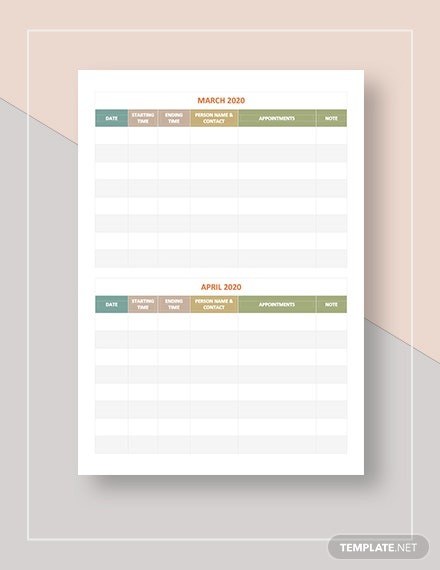 Printable Appointment Calendar Download
