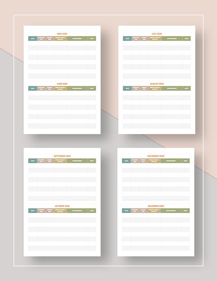 Sample Printable Appointment Calendar