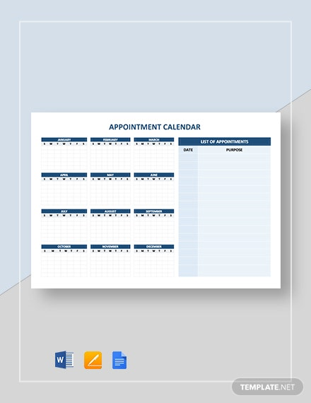 Free Blank Appointment Calendar Template