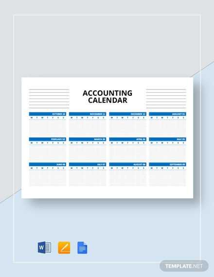 Free Blank Accounting Calendar Template