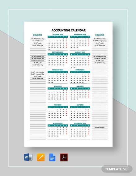 Free Editable Accounting Calendar Template