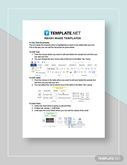 Editable Accounting Calendar Instructions