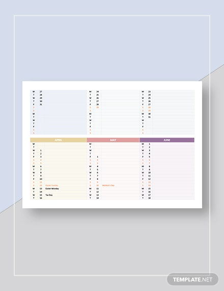 Editable Calendar Template