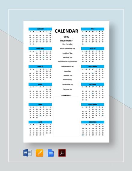 Free Simple Calendar Template