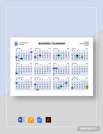 Free Sample Business Calendar Template