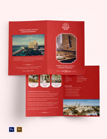 Free Hotel Bi-Fold Brochure Template