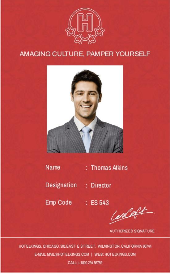 Editable Hotel Identity Card Template